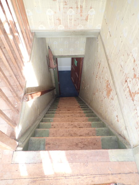 A painted staircase. Note the unpainted strip in the center, where the rug would have gone. Image: K. Webb.