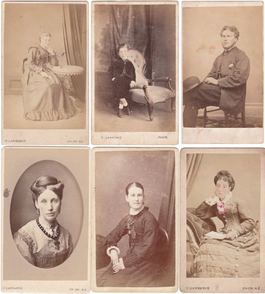 Photographs taken by Charles Lawrence in the 19th century. Notice the same arm chair and table popping up in different images, along with the same curtain, arranged in different ways. The different styles of clothing are also fascinating, although perhaps not indicative of everyday life (one would wear one's best to have a portrait taken, after all). Images: Canterbury Photography.