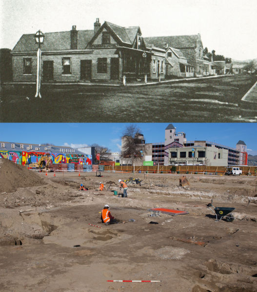 An old photograph of Oxford Terrace west, showing the 1851 cottage (the building with a verandah) and a photograph of the site as we excavated it. Image: