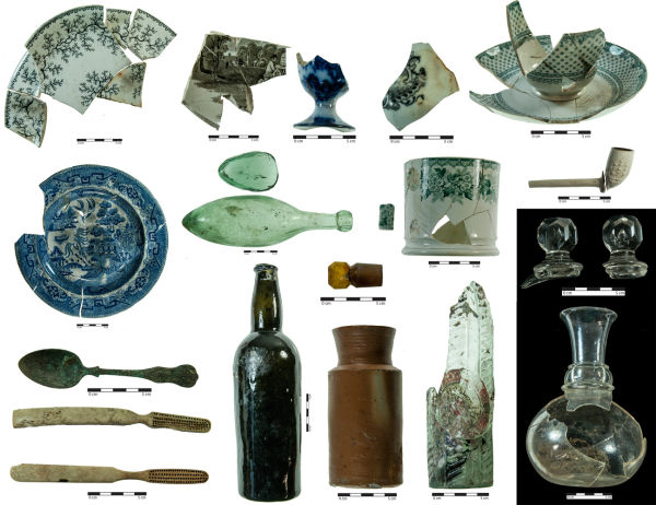 Selection of artefacts likely to have been associated with Charles Lawrence's occupation of the site. Image: J. Garland.