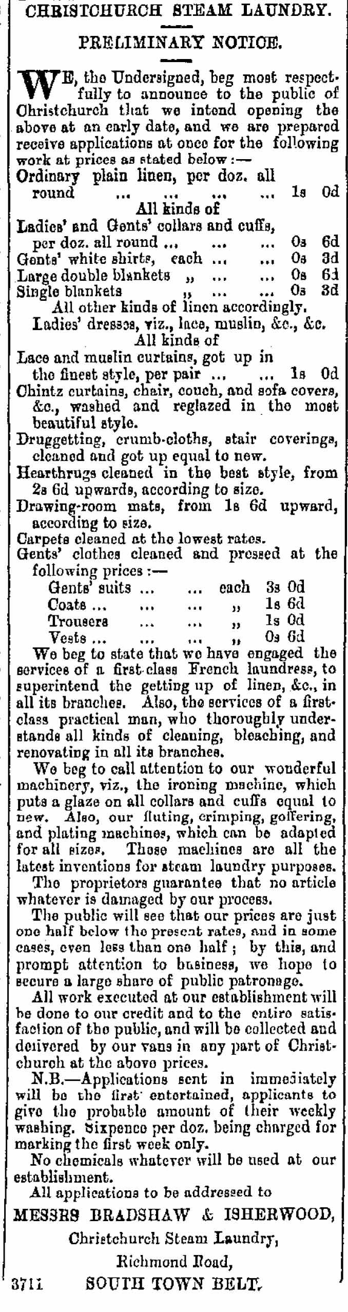 Figure 6. Christchurch Steam Laundry advertisement. 1880 (Star 24/8/1880: 2).