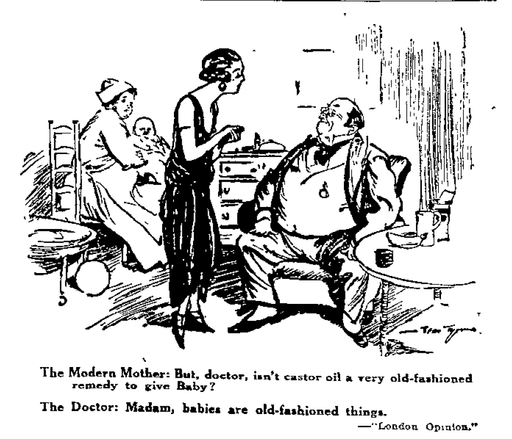 In which both babies and castor oil are old fashioned. Image: Auckland Star 31/05/1924: 18.