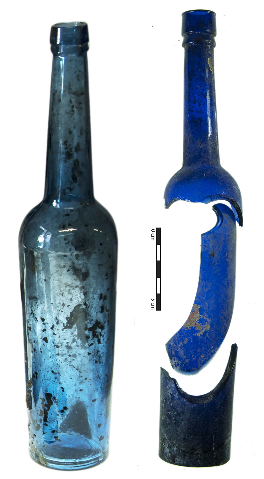 Castor oil bottles, commonly found on 19th century archaeological sites in Christchurch and throughout New Zealand. Image: J. Garland.