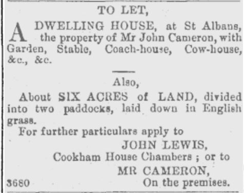 Figure 10. There was originally a third paddock laid down in Irish grass, but there were some 'troubles' and that lot belongs to itself and is no longer for sale. Image: Star 19/8/1869: 3.