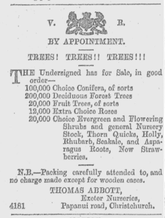 Figure 8. Some of the plants for sale at Exeter Nurseries, Papanui Road, in 1875. A.K.A. all of the plants. Even in the 19th century, kiwis referred to things as 'Choice!'. Image: Star 24/6/1875: 1.
