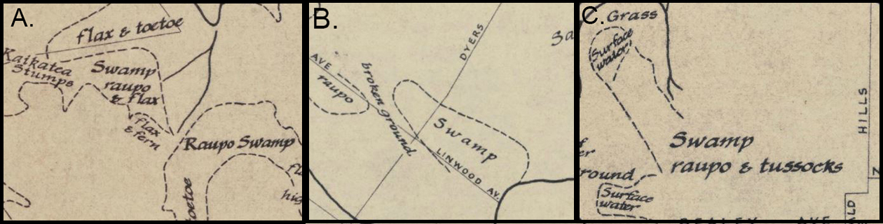 """Detail of Christchurch 'Black maps' of A) Cashmere; B) Linwood; and C) St Albans. """"You get a swamp! And you get a swamp! And you get a swamp!"""" Image: Christchurch area: showing swamps & vegetation cover. Compiled from 'Black Maps' 1856. 1963. Christchurch City Libraries."""