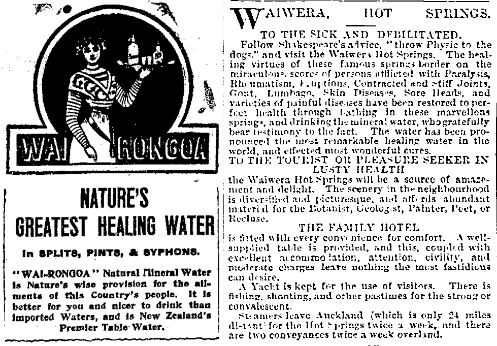 Advertisement for Wai-Rongoa, the healing water of the North Taeri Springs and Waiwera.