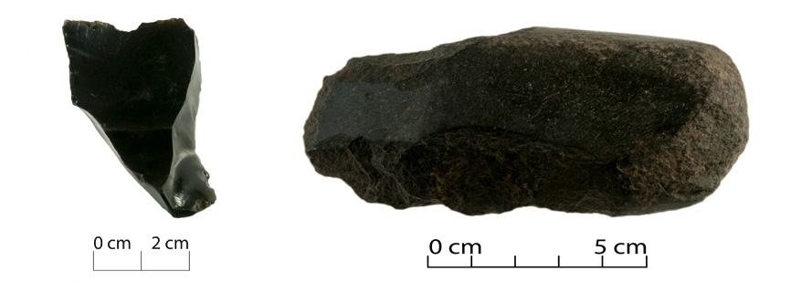 A flake core of obsidian (left), and basalt adze (right). Image: Jessie Garland.