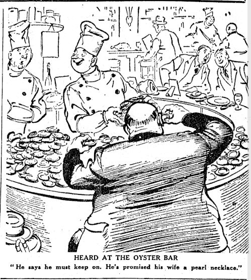 Oyster bar associated with gluttony? (New Zealand Herald 1/4/1939: 5).