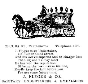 Figure 4. Rhyming makes ads cooler (Free Lance 29/03/1902: 21 ) - Is it just me or do the finials on this hearse look like shrunken heads on spikes to anyone else? Creepy!