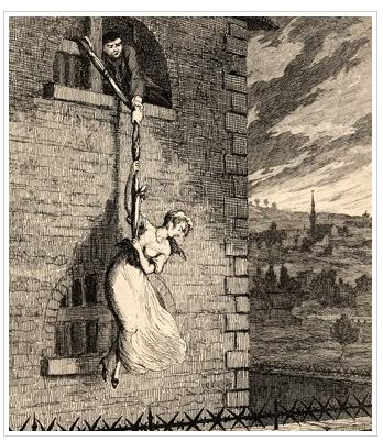 Here's a picture of another enterprising dame escaping from a building via bedsheet rope- not the same incident, but you get the idea.