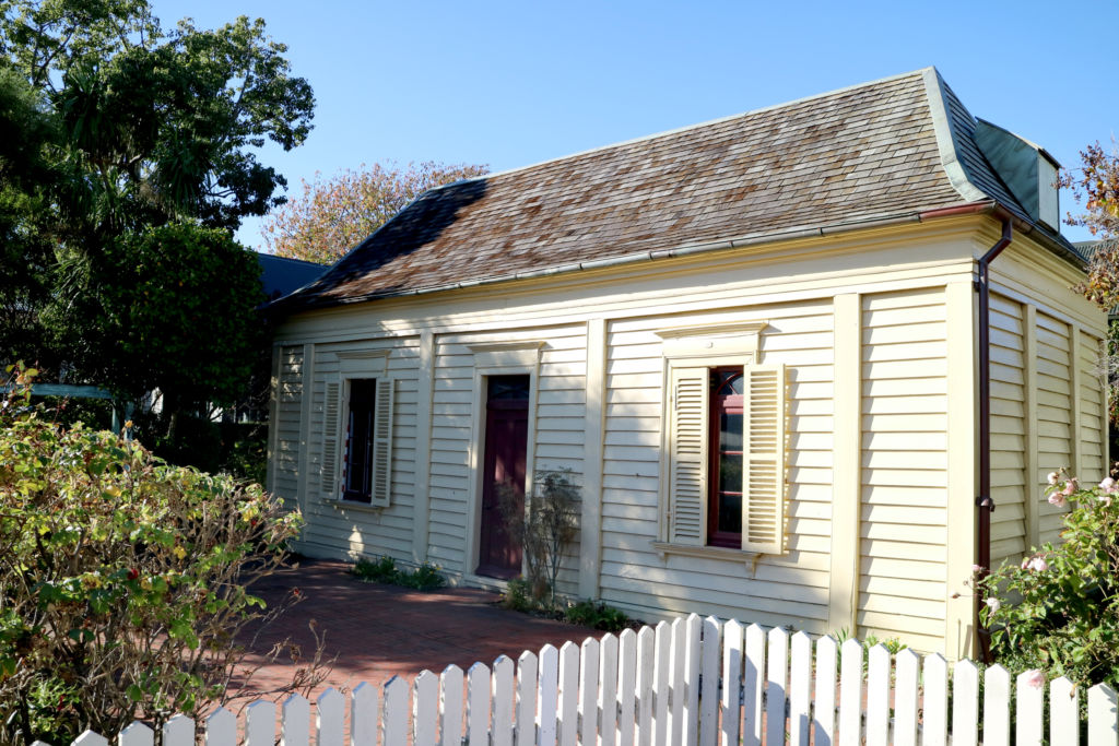 The Langlois Etevenaux cottage, built in c. 1843, as it stands in 2016. The cottage is one of the oldest buildings in Canterbury and the only building constructed by French colonists that still stands in Akaroa. Image: L. Tremlett.