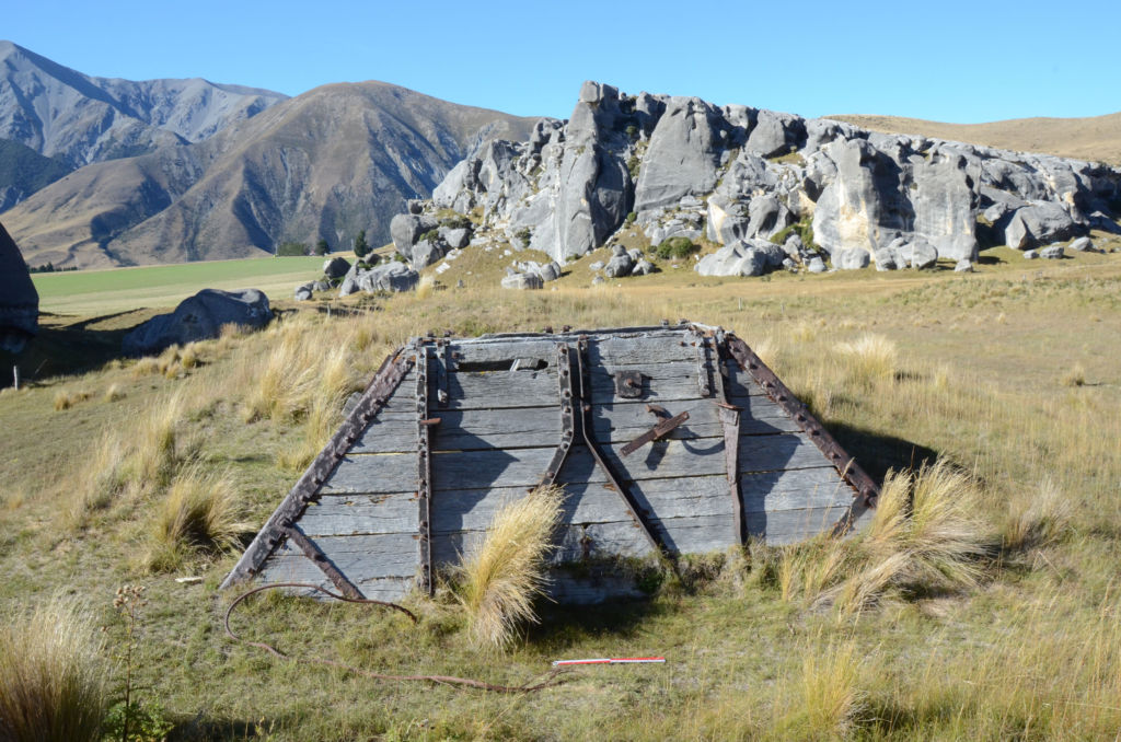 The remains of a hopper associated with processing lime at Kura Tāwhiti. Image: K. Watson.