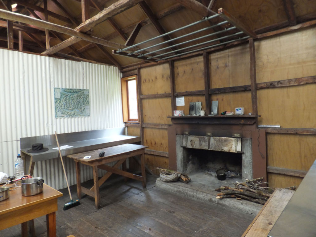 The kitchen/dining area, Locke Stream Hut. Image: K. Watson.