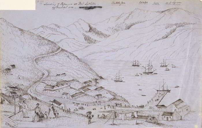 The landing of passengers from the Charlotte Jane, Randolph, Cressy, and Sir George Seymour in Lyttelton c. 1850. Plenty of open space for pranks. Image: Alexander Turnbull Library.