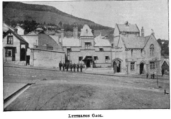 The Lyttelton Gaol, date unknown. Image: Cyclopedia Company Limited 1903. A later image of the gaol c. 1900 can be viewed here.