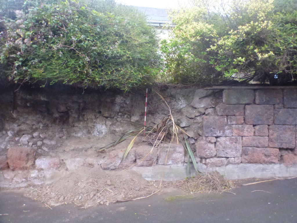 A collapsed wall at 61 St Davids Street. Image: M. Hickey, 2016.
