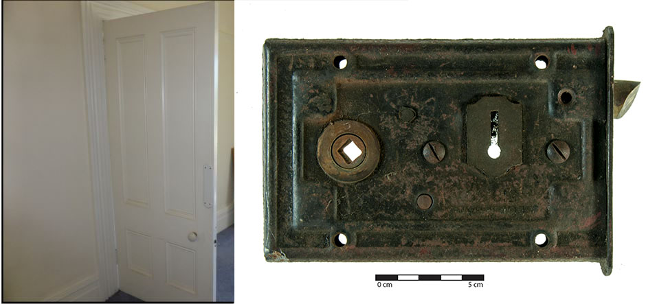 Mortise lock in situ and mortise lock close-up. Images: J. Garland and P. Mitchell.