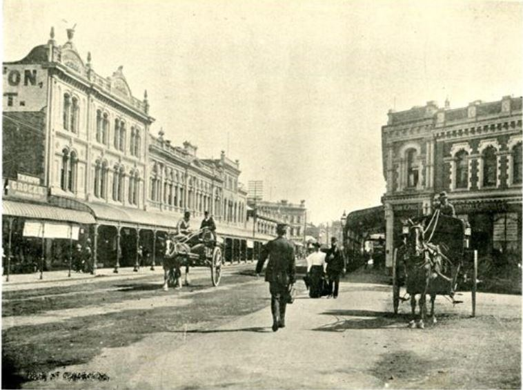 High Street, Christchurch, by Wheeler and Son. Image: The Imperial Album of New Zealand Scenery.