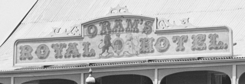 Detail of Oram's Royal Hotel sign.