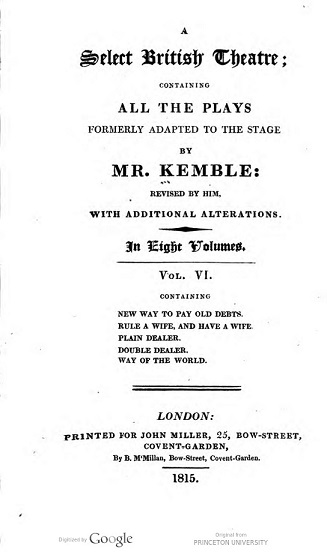 Title page for A Select British Theatre from a copy held in the Princeton University Library.