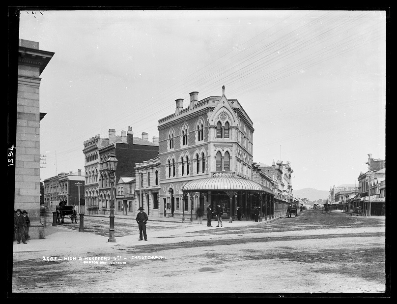 High and Hereford Streets, Christchurch, 1880s, by Burton Brothers studio. Image: Te Papa (C.011594).