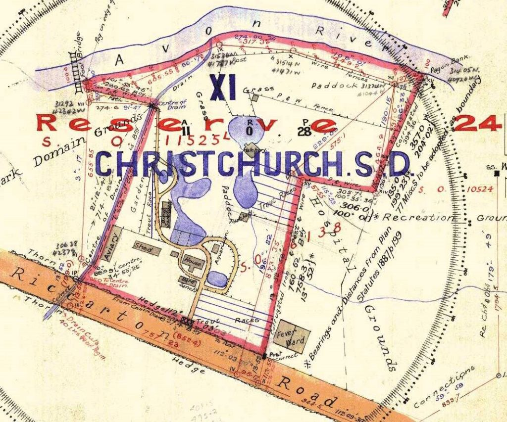 A survey plan of the Canterbury Acclimatisation Society grounds in 1913, including the fish ponds.