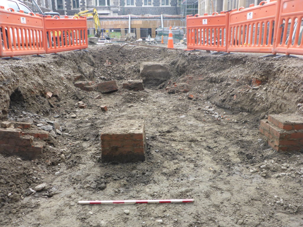 Figure 7. A section of the piles from the Old Tin Shed uncovered during 2015 monitoring. Image: J. Hughes.