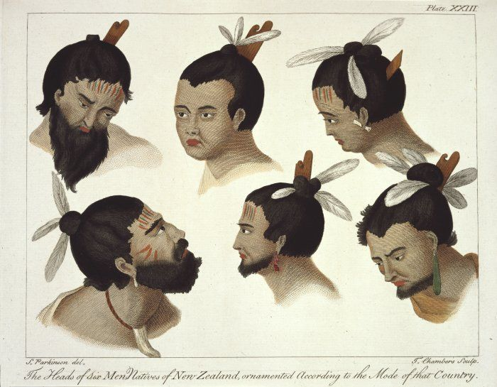 This painting was evidently done before Pākehā got the hang of drawing moko. The guy in the upper middle is so fed up with this man-bun business. Image: Parkinson, Sydney, 1745?-1771. Parkinson, Sydney, 1745-1771 :The heads of six men natives of New Zealand, ornamented according to the mode of that country. S. Parkinson del. T Chambers sculp. London, 1784. Plate XXIII.. Parkinson, Sydney, 1745-1771 :A journal of a voyage to the South Seas, in his Majesty's ship, 'The Endeavour'. Faithfully transcribed from the papers of the late Sydney Parkinson. London; Printed for Charles Dilly, in the Poultry, and James Phillips, in the George-Yard, 1784.. Ref: PUBL-0037-23. Alexander Turnbull Library, Wellington, New Zealand. http://natlib.govt.nz/records/23044298