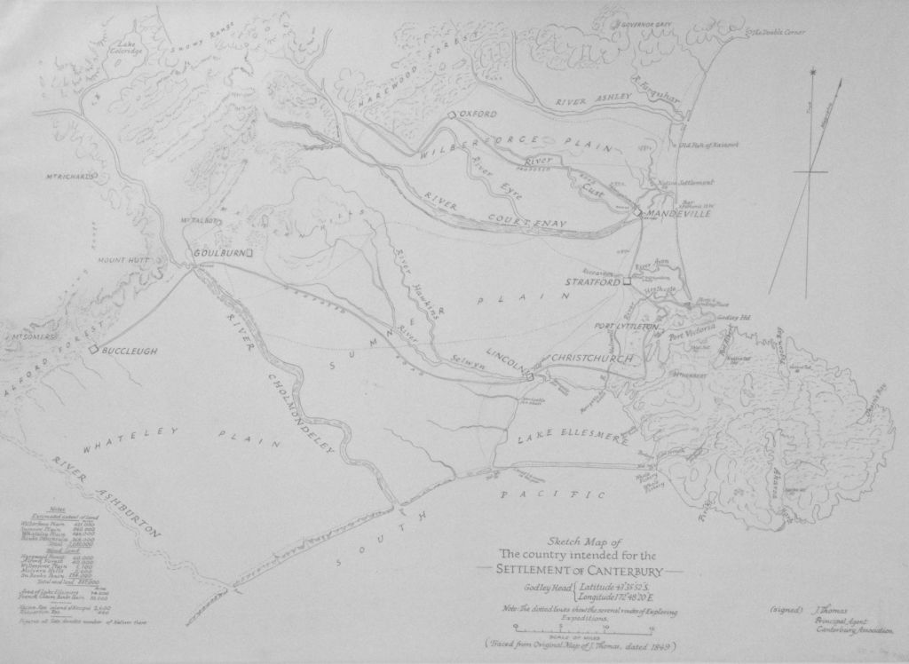 Sketch map of the country intended for the settlement of Canterbury. Charles Obin Torlesse, 1849. Image: Wikimedia Commons. (Attentive readers will note the originally intended location of Christchurch at the head of Lyttelton Harbour. Inattentive readers GET NOTHING).