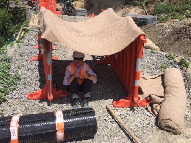 During the 30 degree heat of summer, a Fulton Hogan crew built Teri a sun-shade.