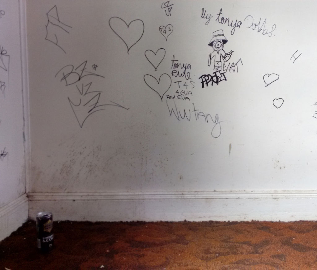 This year Matt and Luke entered a house early one morning to record it, only to find the front room still occupied with sleeping squatters, and unexplained bloodstained clothing. The remainder of the graffiti can't be shown here, but at least you can tell that they loved each other very much. Image: Matt Hennessey.