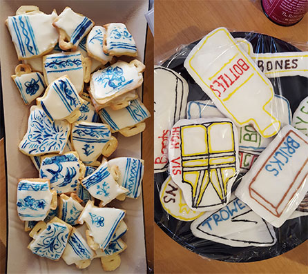 Archaeology-themed cookies made by the team for International Day of Archaeology. You are what you eat they say. Some of us are willow pattern ceramics. Image: Jessie Garland.