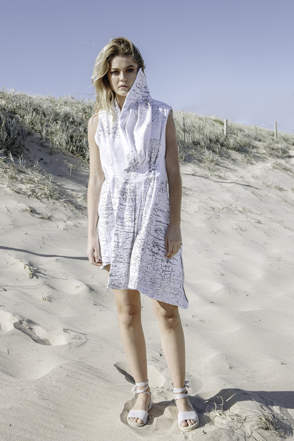 ASYMMETRIC PLEATED DENIM DRESS  IN WHITE
