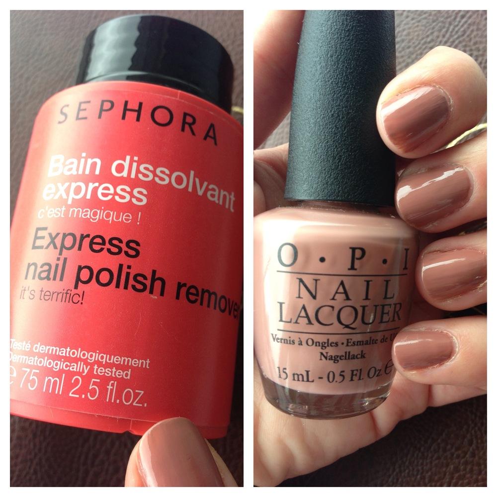OPI Barefoot in Barcelona & Sephora express nail varnish remover