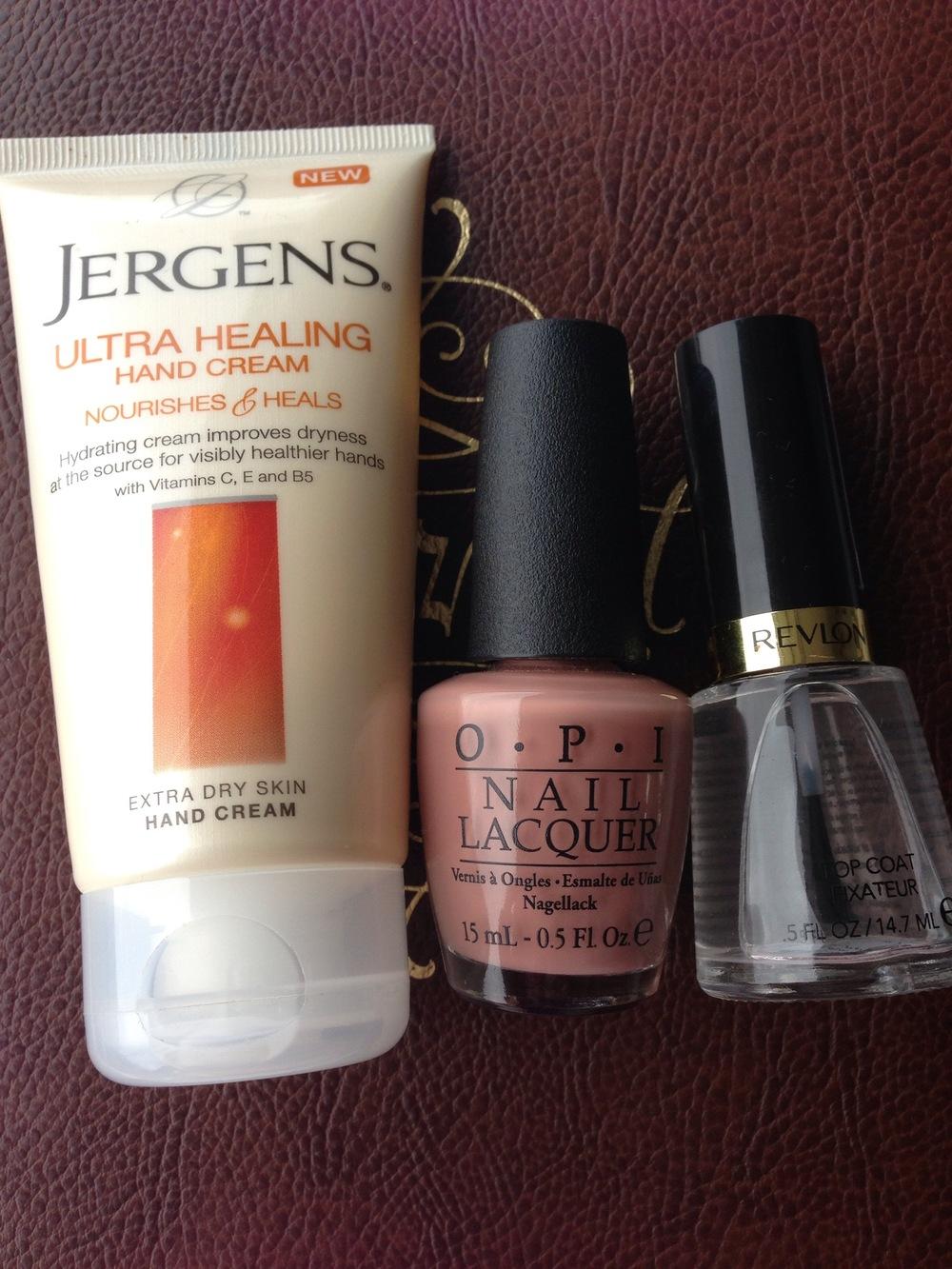 Jergens hand cream, OPI barefoot in barcelona, Revlon top coat