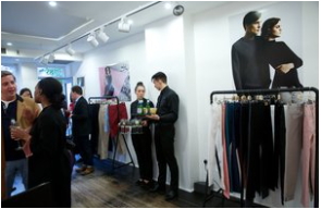 SELFNATION's sample rail at the UK launch which reuses returned jeans.