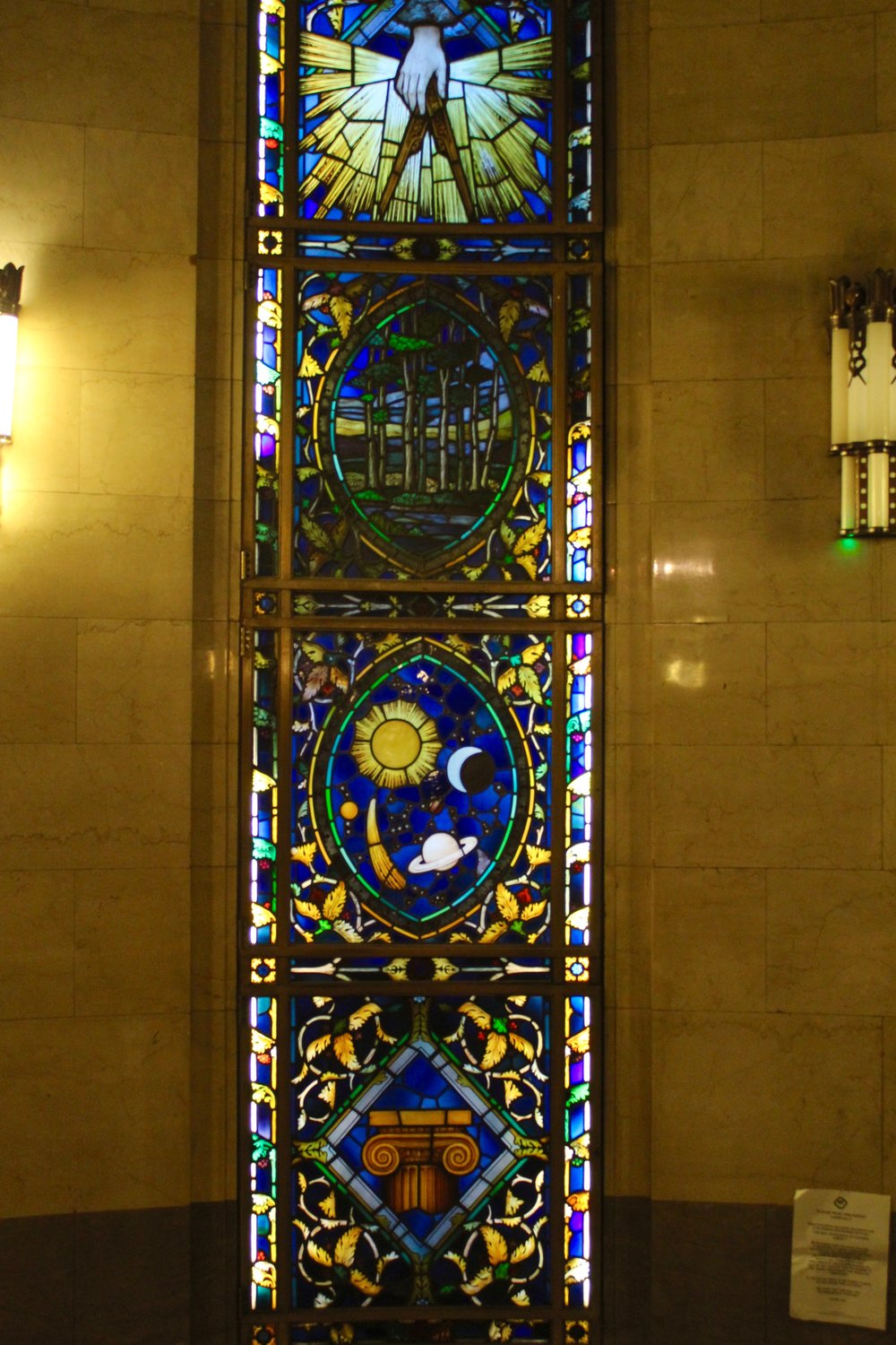 Stained glass in the Freemason's Hall