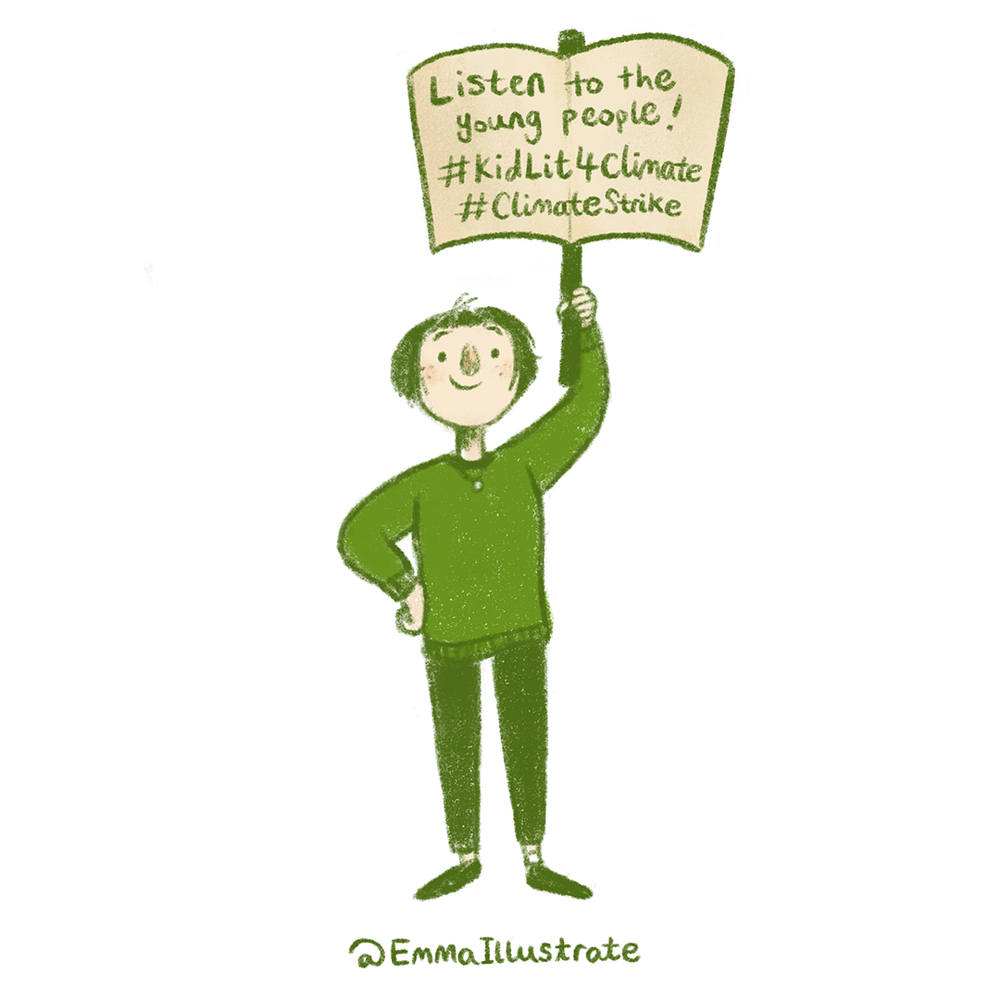 My illustrated protestor - inviting illustrators to join the virtual protest in solidarity with the youth climate strike!