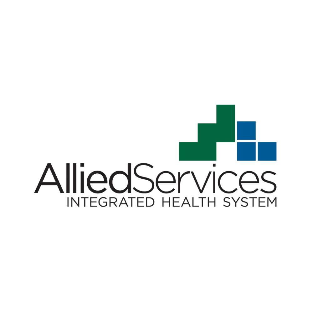 Allied Services Integrated Health System   The challenge was to merge two health systems and create a unified logo. An updated typeface and colors were chosen as well as graphics that resemble steps to incorporate therapy.