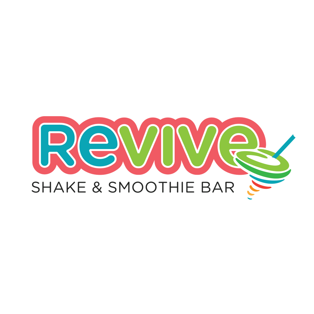 REVIVE Shake & Smoothie Bar   The challenge was to create a logo for the Shake and Smoothie Bar at an upscale health and fitness center. Bright colors were incorpated with their current colors to tie it all together.