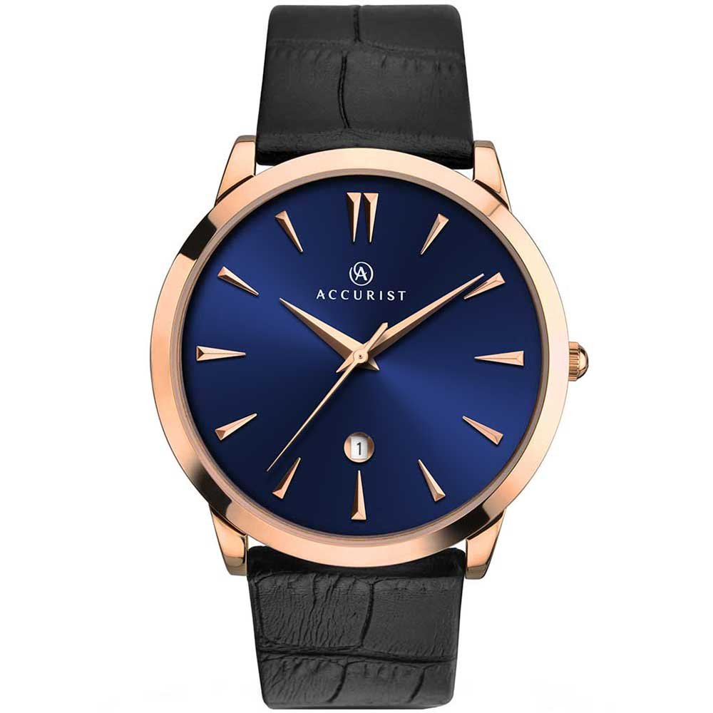 Gents Accurist Quartz Watch Rose Gold Plated With Blue Dial J