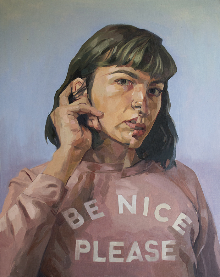BE NICE PLEASE  oil on wood, 16x20in, sold
