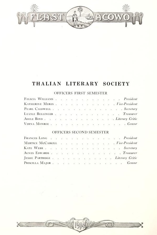 Thalian Literary Society Officers 1914