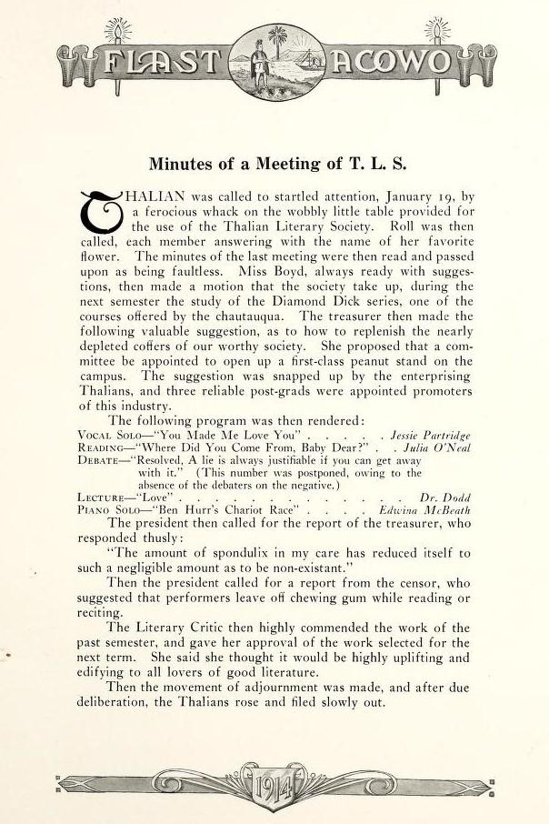 Thalian Literary Society Minutes 1914