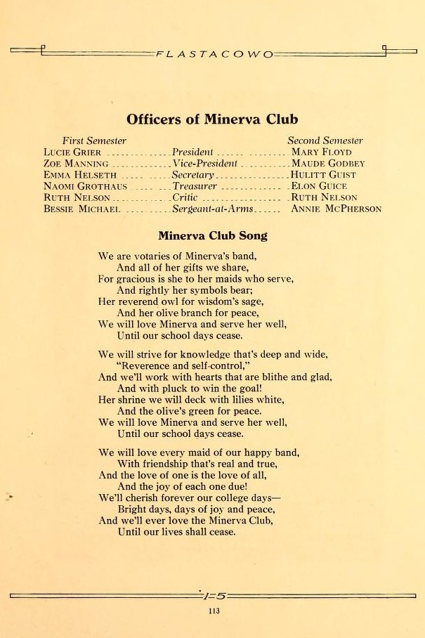 Minerva Club Officers & Song 1915