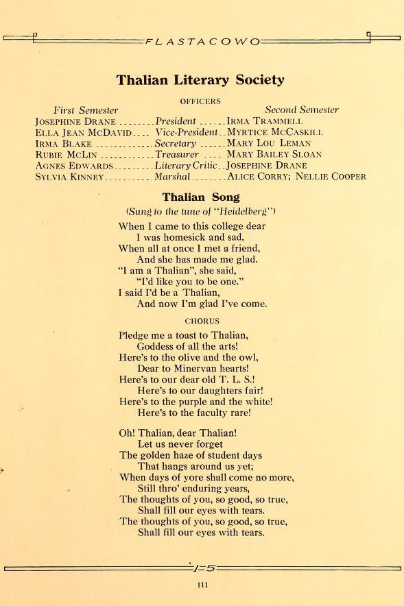 Thalian Literary Society Officers & Song 1915