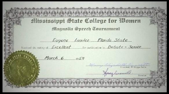 1954 Excellent Senior Debate Magnolia Speech Tournament