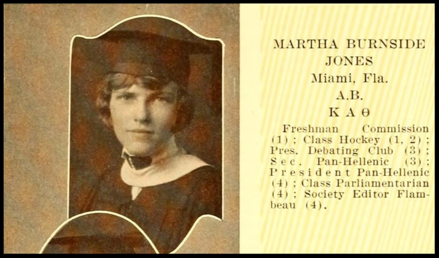 Martha Burnside Jones, President Debating Club