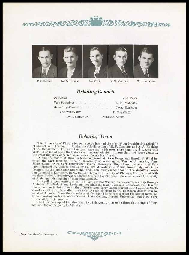 1931 University of Florida Debating Council